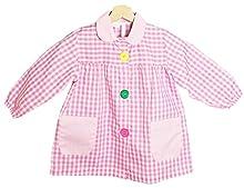BeBright Babi Escolar Infantil, Bata Escolar Niña y Niño con Botones, Mandilón de Guardería -Fabricados en España (Rosa, 1-2 Años)