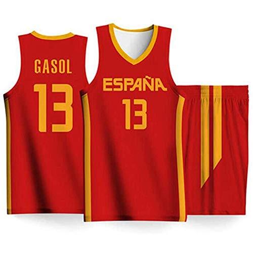 Camiseta de Baloncesto de los Hombres de la Copa Mundial, Selección Española de Baloncesto No.13 Marc Gasol Aptitud Deportiva Transpirable de Secado rápido Alero Jersey (Color : B, Size : M)