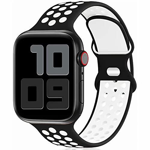 Fengyiyuda Reemplazo Deportivo de Silicona Compatible con Correa Apple Watch Pulsera 38 mm 40 mm 42 mm 44 mm, Pulsera Suave y Transpirable para iWatch Series 6/5/4/3/2/1 / SE Black&White-42/44-L
