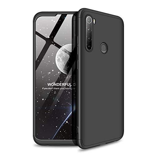 Kit Danet Capa Capinha Anti Impacto 360 Full Para Xiaomi Redmi Note 8T Com Tela 6.3Polegadas - Case Acrílica Fosca Com Película De Vidro Temperado (Todo preto)