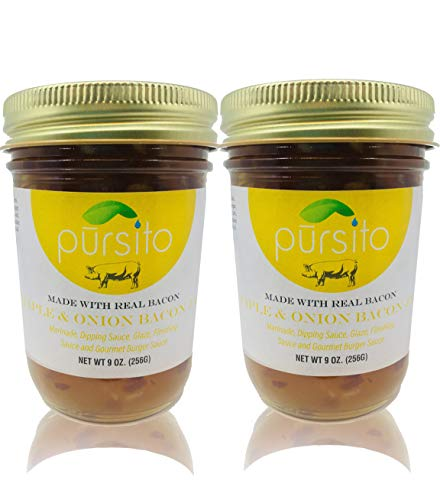 Pursito Homemade Delicious Maple & Onion Bacon Jam Spread for Burgers, Bread, Cheese, Snacking and Recipes 9 ounces Natural No High Fructose Corn Syrup Pack of 2