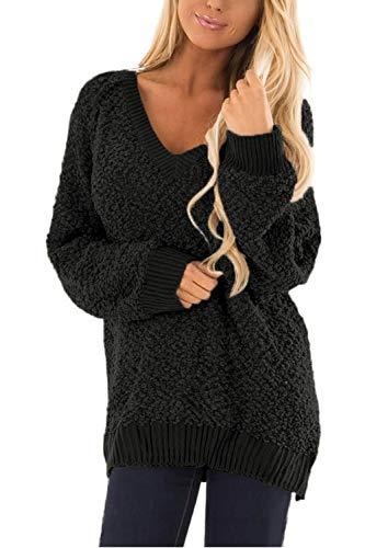 Meenew Women's Sherpa Fleece Long Pullover V Neck Fuzzy Tunic Sweater Black M
