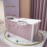 YAMMY Verdickte Faltbadewanne für Erwachsene, Faltbadewanne Kunststoff Tragbare Badewanne Körper mit Abdeckung Isolierwanne Baby Pet-Pink
