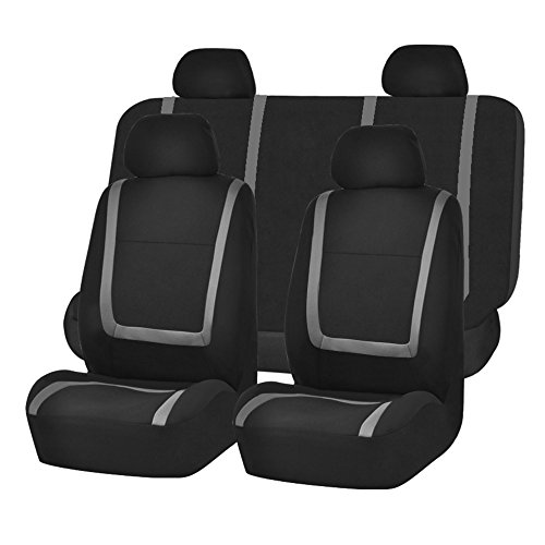 FH Group FB032GRAY114 Gray Unique Flat Cloth Car Seat Cover (w. 4 Detachable Headrests and Solid Bench)