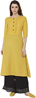 Women Solid Color A-Line Straight Tops Tunic Long Dress Kurti Kurta for Girl - 05