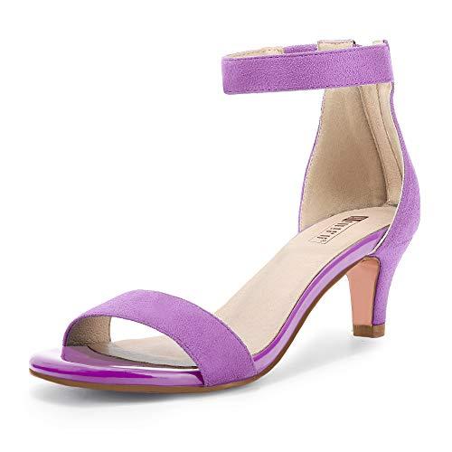 IDIFU Women's Low Kitten Heels Sandals Ankle Strap Open Toe Wedding Pump Shoes with Zipper(9, Lavender Suede)