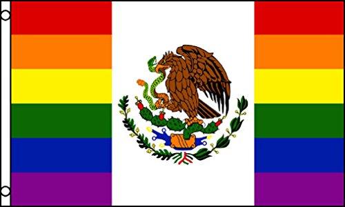 TrendyLuz Flags Rainbow Mexico Mexican National Country Pride Gay Lesbian LGBT Equality 3x5 Feet Flag