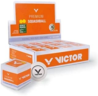 Victor PSA White Squash Ball Box - 12 Pieces (Double Yellow)