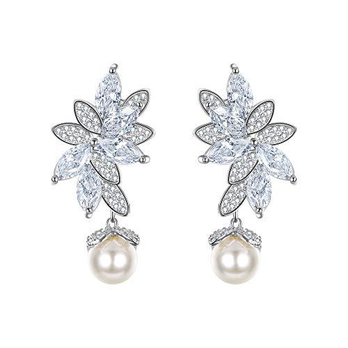 EVER FAITH silver-tone CZ bianco perla simulata Splendida Marquise Forma Foglie orecchini di goccia trasparente N07546-1