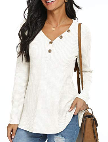 ANIXAY Womens Waffle Knit Tunic Tops Long Sleeve Loose Fitting Daily Casual Button Up Basic Henley Tops White-X-Large