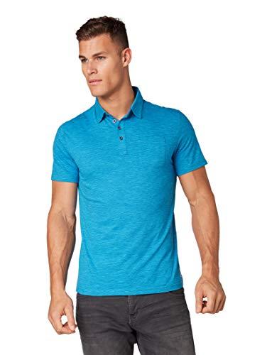 TOM TAILOR für Männer Poloshirts Gestreiftes Polo-Shirt Coastal Blue Yarndye Stripe, XXXL