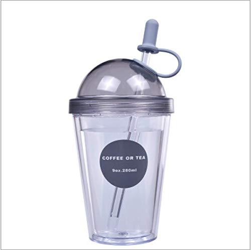 Tazza con doppia parete, tazza di paglia Bubble Tea con cannuccia, coperchio cannuccia, per succhi di caffè, caffè ghiaccio, nero