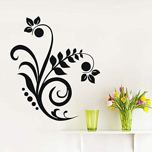 ASFGA Abstrakte Florale braune Blume Dekoration Wandaufkleber Wohnzimmer Kunst entfernbare Wandtattoo Schlafzimmer Home Dekoration Tapete 43cm x 50cm