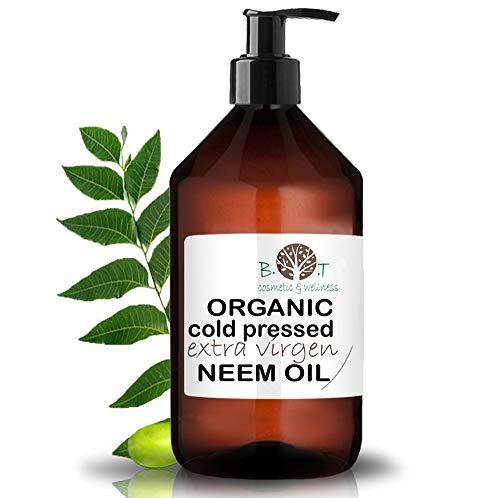 B.O.T cosmetic & wellness Aceite de Neem Virgen Prensado en Frío Primera Presión 100% Puro Bio Aceite Vegetal Non Refinado (1000 ml) Azadirachtin 3123.32 ppm.
