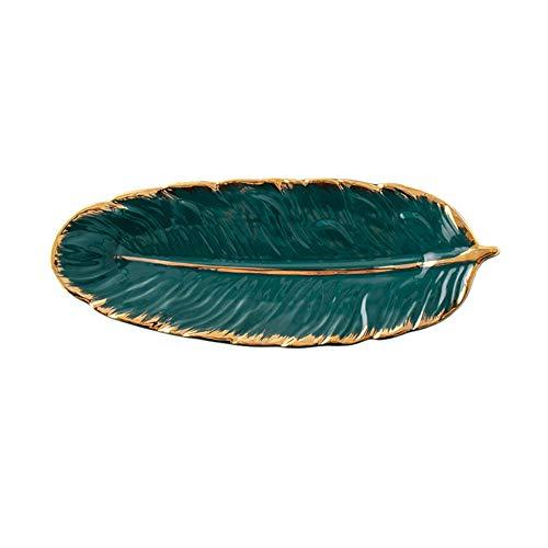 SXYB Placa de cerámica de Placa de Oro, diseño de Plumas de Moda Bandeja de Joyas, Soporte de Anillo Accesorios de vajilla Dim Sum Fruit Cocina Detalle Plato único y Elegante