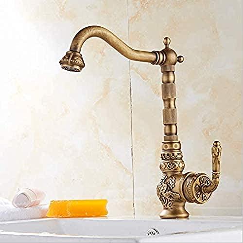 Grifo de lavabo Grifo de lavabo de latón antiguo Grifo de baño tallado Rueda de cobre Manija única Grifo mezclador de agua fría y caliente Grúa