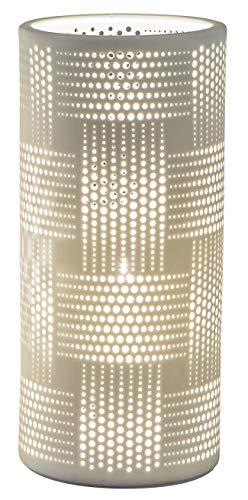 dekojohnson Porzellan-Lampe Zylinder Harmonie Romantik Tischleuchte Nachttischlampe Nachttischleuchte Stimmungslampe Weiss 24cm