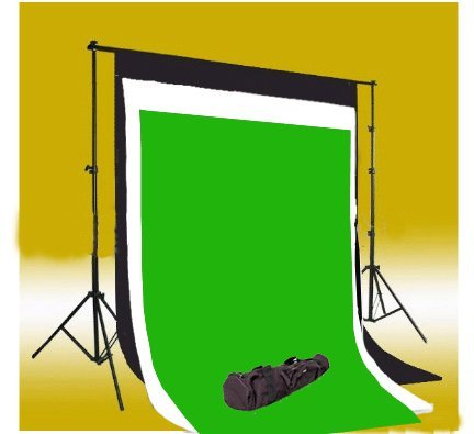 CowboyStudio Photography 10 X 12ft Black, White & Chromakey Green Muslin Backdrops with Background Support System and Carry Bag