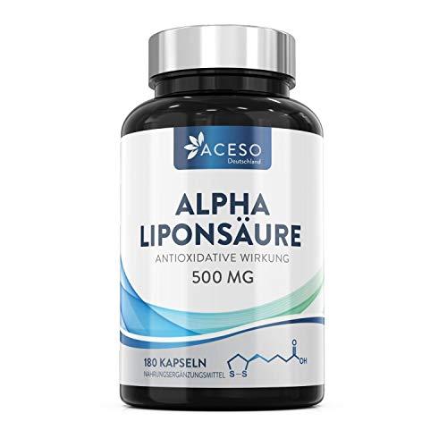 Alpha-Liponsäure ALA 500mg | 180 hochdosierte vegane Kapseln | Hilft bei Entzündungen, unterstützt Blutzucker-Regulation und Nervengesundheit, wirksam gegen kribbelnde Füße, Hände, Gliedmaßen und mehr
