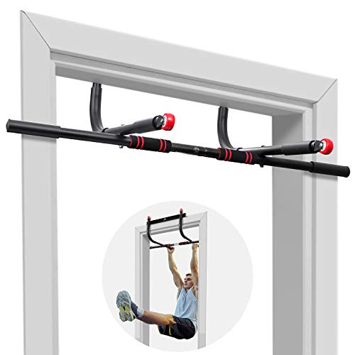 AhfuLife Pull Up Bar Doorway 1 Device 5 Use, Chin Up Bar Doorframe Holds up to 400 Ibs Adjustable Width with Padded Handles for Home Gym Exercise, Workout Guide (Black-Red)