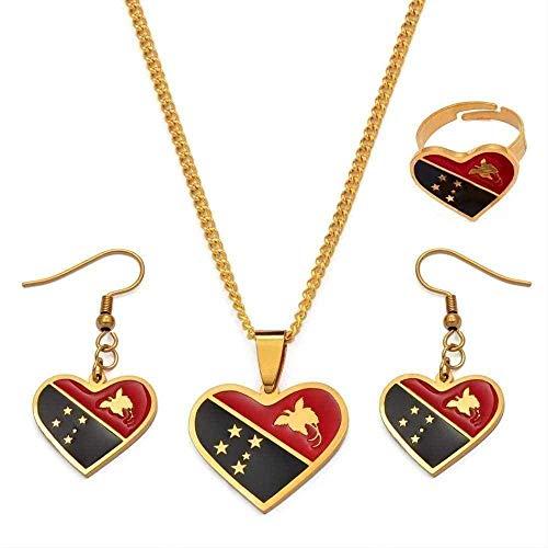 LBBYMX Co.,ltd Collar Moda corazón Bandera Colgante Collares Pendientes Anillo Papua Guinea Bandera Nacional Conjuntos de Joyas para Mujeres niñas
