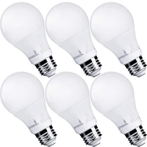 Hyperikon A19 Dimmable LED Light Bulb, 9W=60W, E26 Base, CRI90+, Energy Star, UL, Warm White, 6 Pack