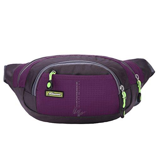 emansmoer Unisex Sac de taille Sac banane Daypack Besace Multifonction Outdoor Sport Randonnée Trekking Course à pied Sac (Violet)