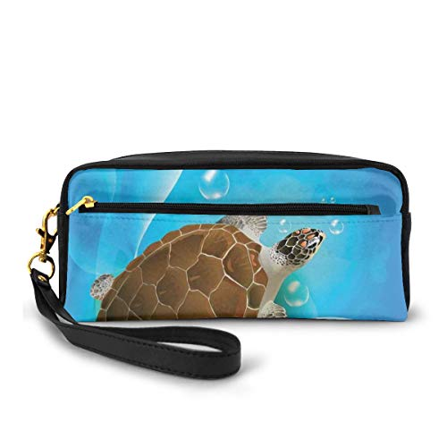 Pencil Case Pen Bag Pouch Stationary,Turtle Family Swimming in The Ocean Bubbles Underwater World Cartoon Fun Artwork,Small Makeup Bag Coin Purse