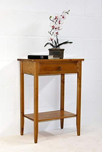 Casa Massivholz Fichte Konsolentisch honigfarben 80 cm hoch Beistelltisch bernsteinfarben Telefontisch Goldbraun mit Schublade