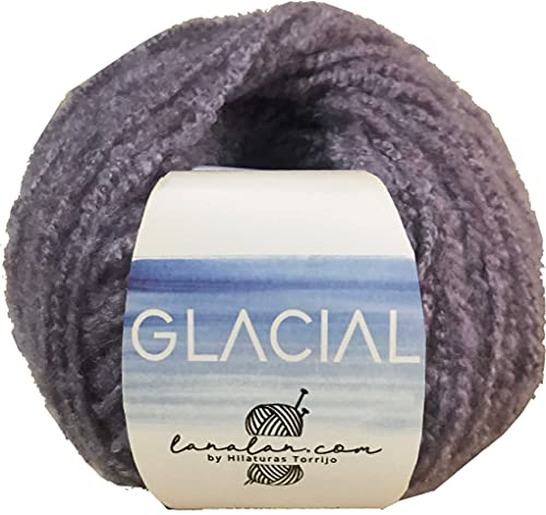 Hilo de Lana boucle para Tejer Crochet Ganchillo o Punto Torrijo GLACIAL 50g, Ovillo de Lana Suave...