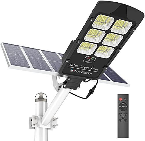 500W Solar Street Flood Light Outdoor, HYPERAZA Motion Sensor Dusk to Dawn Solar Light with Remote Control IP66 Waterproof for Parking Lot, Stadium, Garden(Bright White)
