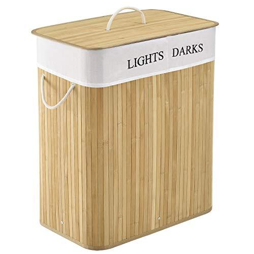 Juskys Bambus Wäschekorb Curly mit Deckel & Polyester Wäschesack | 100 Liter | 2 Fächer | rechteckig | Natur | Wäschesammler Wäschesortierer Wäschebox