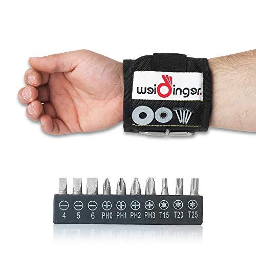 Pulsera magnética premium con 15 puntas – Pulsera magnética con cierre de velcro fuerte – Dispositivo de bricolaje perfecto – Regalo ideal para hombres – Soporte magnético de Bit.