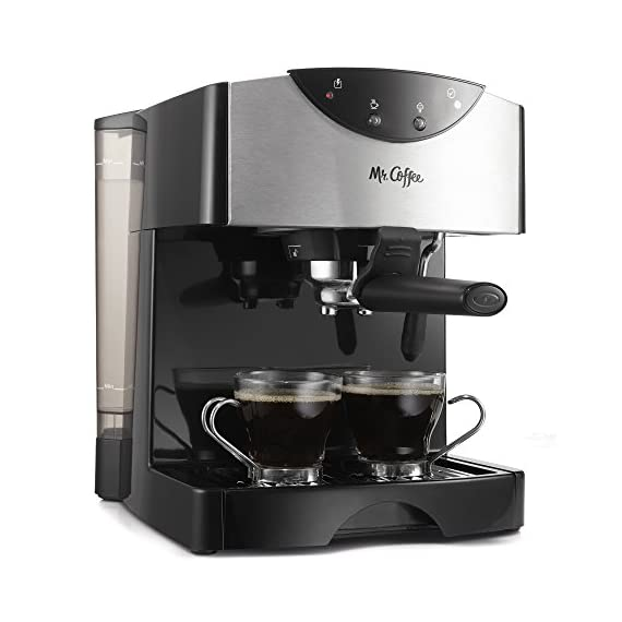Mr. Coffee Automatic Dual Shot Espresso/Cappuccino System 1 15-bar pump system uses powerful pressure to extract a dark, rich espresso brew Frothing arm makes creamy froth to top off your cappuccinos and lattes Make 2 single shots at once with dual-shot brewing. Watts: 1250