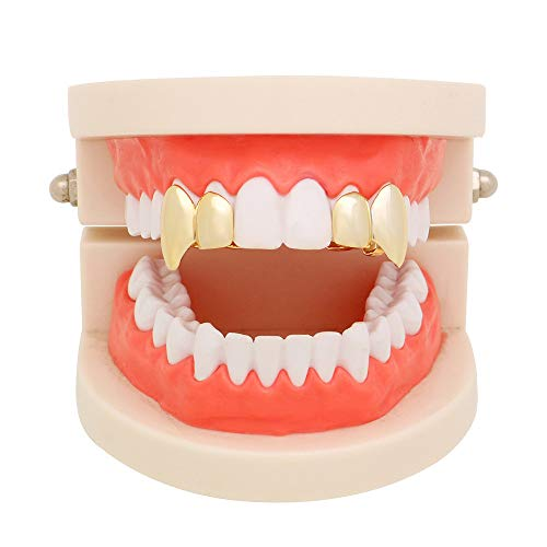 Fullfun Hip Hop Gold Silver Teeth Grillz Top Grills Dental Mouth Punk Teeth Caps Cosplay Party Tooth Rapper Jewelry Gift (Gold)