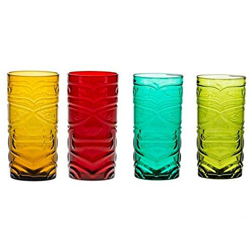Brandani 53154Set 4 Bicchieri Tiki colori assortiti vetro