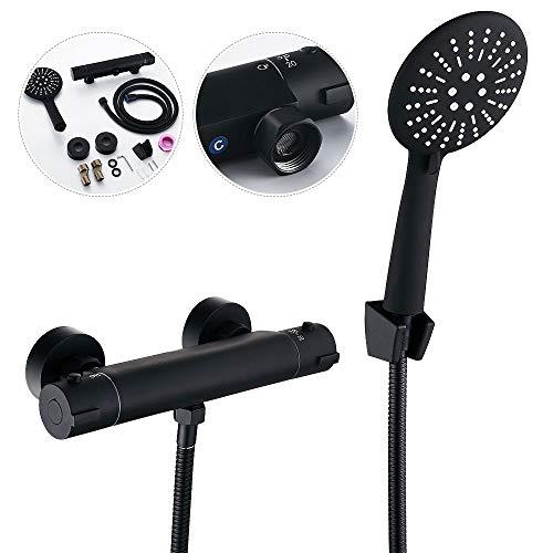 Conjunto de ducha termostática, columna de ducha empotrable negra, sistema de ducha de manos con lluvia ajustable, grifo termostático de cobre retro para cuarto de baño
