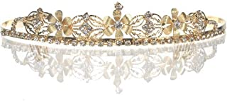 Bridal Wedding Tiara Crown with Silver Flowers 4652