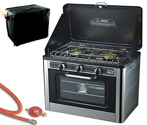 Phönix PH-01SD Gaskocher 2 flammig mit Zündsicherung und Gas Backofen, Campingkocher mit Deckel Ofen Gasgrill Gasherd inkl. Gasschlauch-Regler Set