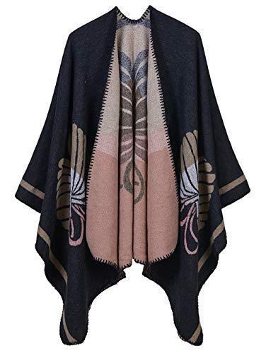 Cape poncho, voor dames, gebreid, kasjmier-imitatie, zacht, Schotse ruiten, warm, brede opening, lang, winter, herfst, cadeau voor Kerstmis verjaardag