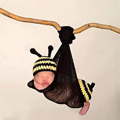 BESISOON Vêtements Outfit Cadeau Photographie Vêtements en Laine tricotés à la Main Vêtements de bébé Forme Animale Little Bee Nouveau-né bébé Photographie Prop (Color : Yellow, Size : One Size)