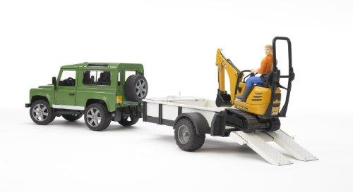 Bruder 3482593 TOYS Land Rover Defender Station Wagon mit Einachsanhänger, JCB Mikrobagger 8010 Cts und Bauarbeiter