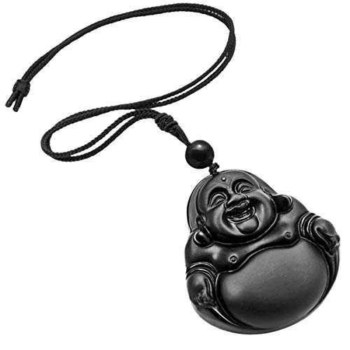 TUMBEELLUWA Stone Pendant Healing Crystal Necklace Obsidian Amulet Chakra Quartz Power Cord Handmade Jewelry for Women Men,Laughing Buddha