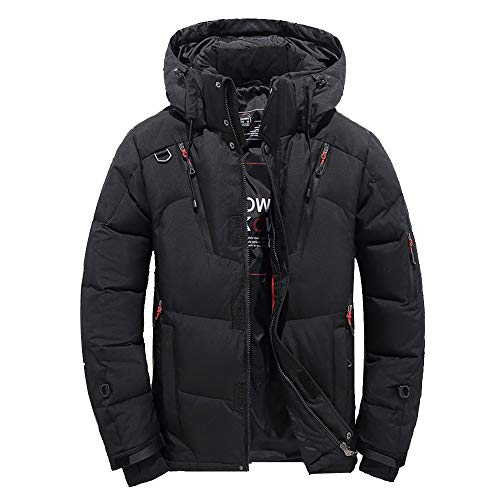 Goose Down Jacket Men Waterproof.Men Boys Casual Warm Hooded Winter Zipper Coat Outwear Jacket Top Blouse Black