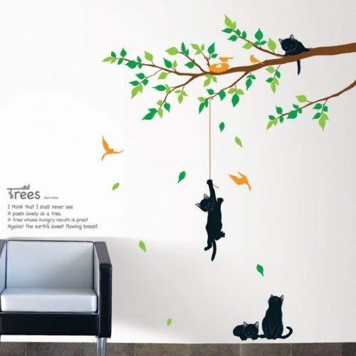 Ambience Live Vinilo Adhesivos Flores y Gatos Negros Multicolores