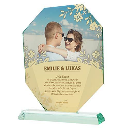 Expositor de cristal con foto, regalo de agradecimiento para padres para bodas, regalo de agradecimiento, regalo de boda, regalo de compromiso, regalo para padres 18 – 04