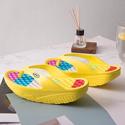 Pantofole bagno vuote,Infradito fondo spesso,sandali spiaggia,bellissime scarpe massaggio gambe dondolo,pantofole antiscivolo bagno,fiore giallo,35,Sandali slide coppia