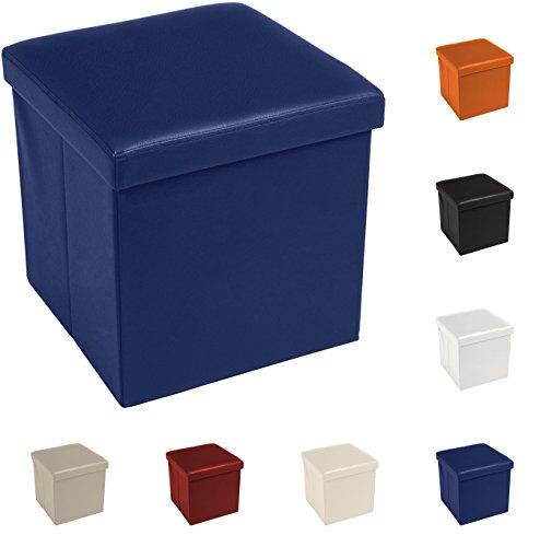 Tata Home Pouf Puff Contenitore Scatola Cubo Poggiapiedi Sgabello in Ecopelle Similpelle Misura 38 x 38 x 38 cm Colore Blu