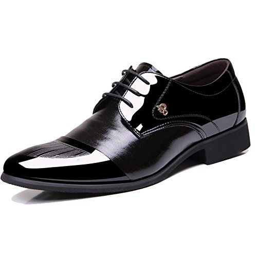 YangXieJiang Mens Patent Leather Tuxedo Dress Shoes Lace up pointed Toe Oxfords 1877 black 10.5D(M)US