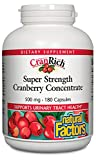 CranRich by Natural Factors, Super Strength Cranberry Concentrate, Antioxidant Supplement for Urinary Tract Support, Non-GMO, 180 capsules (180 servings)